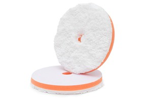 APS Pro Fiber  Soft Cut Pad - Microfaser Finish-Polierpad Ø130-140mm weiß orange